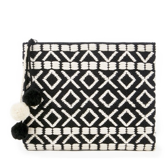 Sole Society Handbags - Sole Society Bronte Pom embroidered clutch pouch